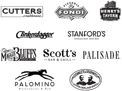 Logos for Cutters Crabhouse, Henrys Tavern, Maggie Bluffs, Palisade, Palomino, Pizzeria Fondi, Scotts Bar and Grill, Stanfords, Stanley & Seaforts